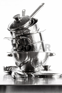 Stack of stainless steel pots and pans on white