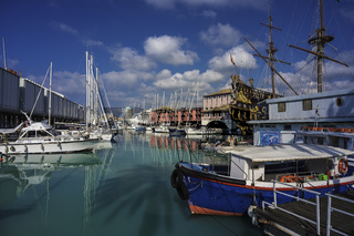 Ancient port of Genoa, with a view of the Galleon