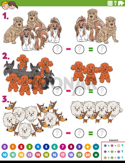 subtraction educational task with cartoon purebred dogs