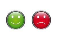 Feedback buttons with emoticons in green yellow and red