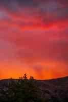 Fiery sunset at Wanaka in New Zealand