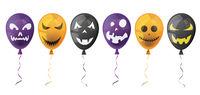 Halloween Balloons Faces White Header