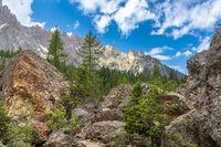 Rock labyrinth below Latemar mountains, Dolomites, South Tyrol