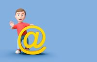 Young Kid 3D Cartoon Character Leaning on Email Symbol on Blue with Copy Space