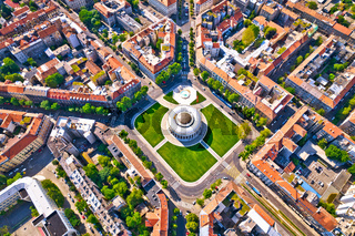 Zagreb aerial. The Mestrovic Pavilion on the Square of the Victims of Fascism in central Zagreb aerial view