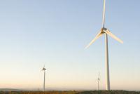 Three wind turbines on a Cornish wind farm