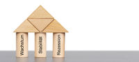 Drei Säulen mit Wachstum, Stabilität und Rezession