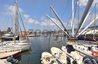 View on harbor of Genoa in Italy.