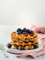 Healthy Gluten Free Oat Waffles. Copy Space