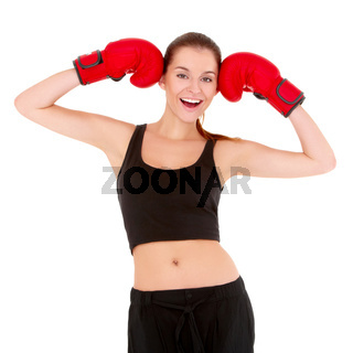 Beautiful sporty woman with boxing gloves
