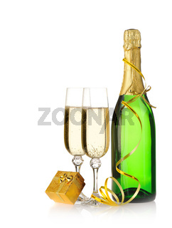 Bottle of a champagne and glasses