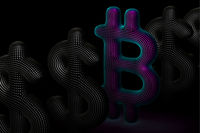 Bitcoin cryptocurrency digital 3D logo in a row with US Dollar signs