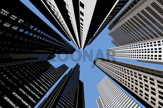 Wolkenkratzer von unten