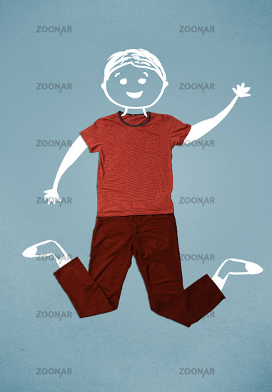 Funny cute smiley character in casual clothes