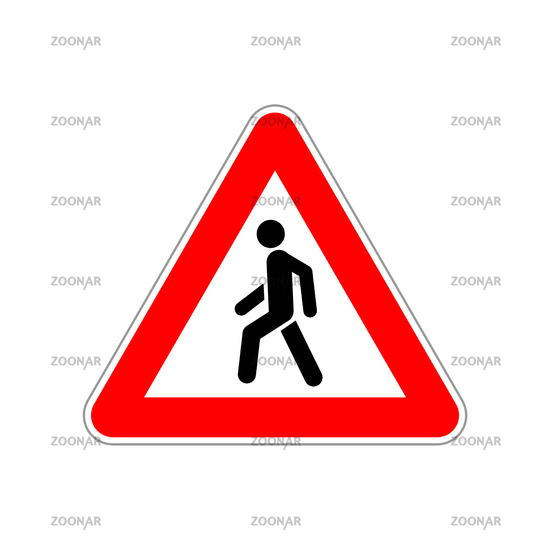 Pedestrian icon on the triangle red and white road sign on white