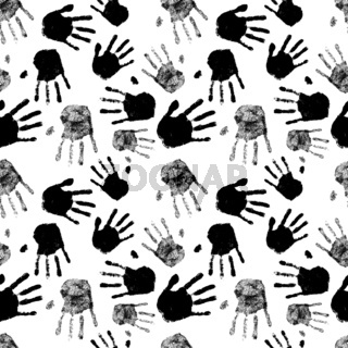 Lot of black silhouettes of human palm prints, seamless pattern on white