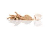 Aswagandha root and powder isolated on white background.