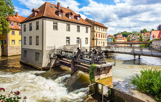 City of Bamberg weir on the left Regnitz arm
