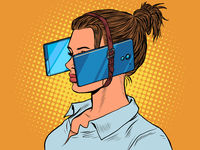 Woman in virtual reality, smartphones. dependence on electronic gadgets