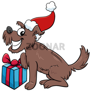 cartoon happy dog with present on Christmas time