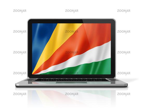 Seychelles flag on laptop screen isolated on white. 3D illustration