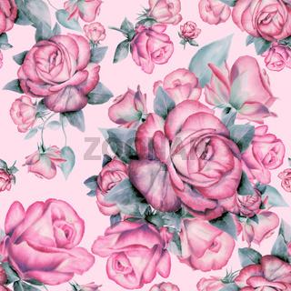Wallpaper seamless vintage pink roses pattern on background.
