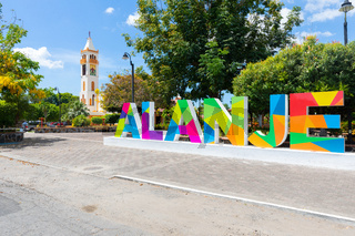 Panama Alanje, welcome sign and bell tower of the parish of Santiago