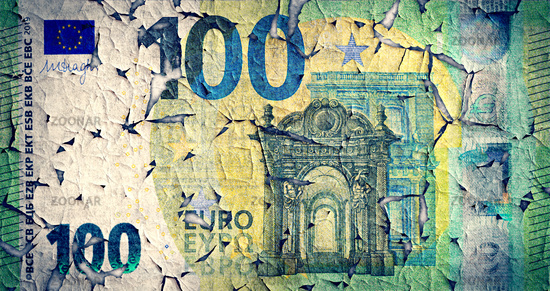 A weathered 100 euro banknote