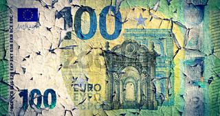 Verwitterte 100 Euro-Banknote