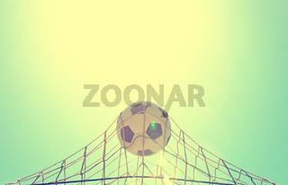 Soccer ball in the net of a goal. Soccer concept
