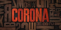 Retro letterpress wood type printing blocks - Corona