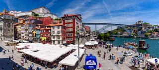 Panorama of Ribeira Square and Dom Luis I Bridge  in Porto, Portugal