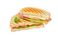 Pressed sandwich with ham and cheese