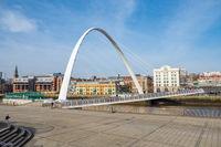 Gateshead Millennium  bridge on Newcastle Upon Tyne Quayside on a sunny winter morning