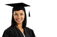 Mixed race female student on white background