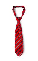 Red men's striped tie taken off for leisure time