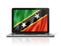 Saint Kitts And Nevis flag on laptop screen isolated on white. 3D illustration