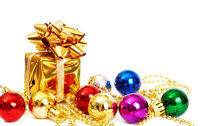 Small gift box and baubles