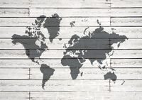 World map on white wooden wall background