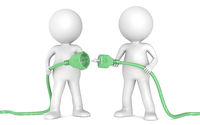 3D little human character X2 holding green Power Cable. Male and Female plug. People series.