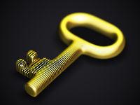 Digital 3D golden key on black background.