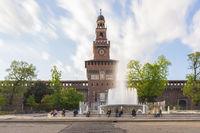 Milan Sforzesco castle and fountain long exposure photo