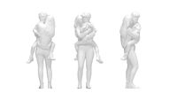 3D rendering of a woman and a child holding the child a boy.