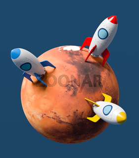 Cartoon Spaceships Landed on Mars on Blue Background