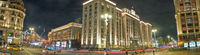 Manezhnaya Square, Tverskaya street and building of State Duma of Russian Federation on Okhotny Ryad in Moscow at night