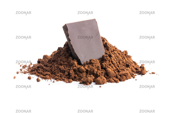 Cocoa powder and chocolate isolated on white background.