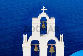 Three Bells of Fira, a Greek Catholic church in Fira, Santorini, Greece