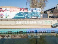 Inscription on wall Canottieri Olona 1894 (Rowers Olona from 1894)