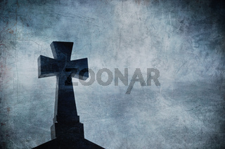 Grunge image of a cross in the cemetery, perfect halloween background