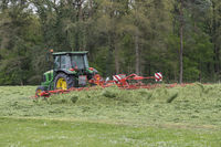 Shaking of freshly cut grass with tractor and tedder